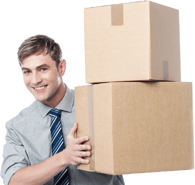 photo of a smiling business person holding two boxes