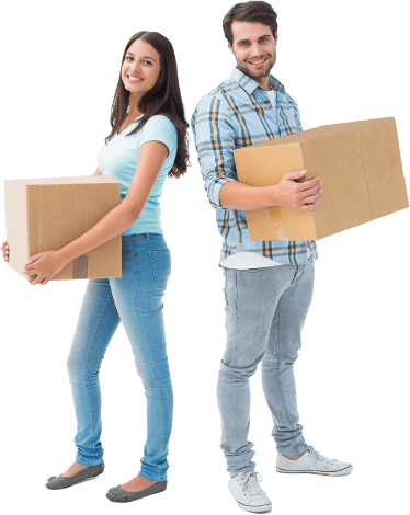 image of a couple holding two boxes