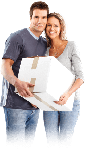 image of a couple holding a packed box