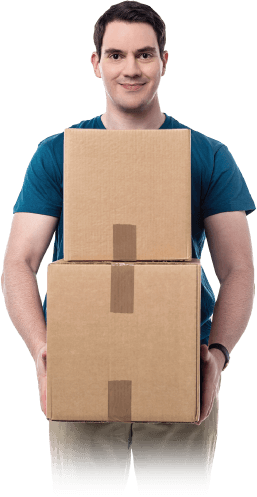 photo of a professional mover holding a box