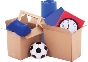 image of some packing boxes loaded with home items such as a kids football