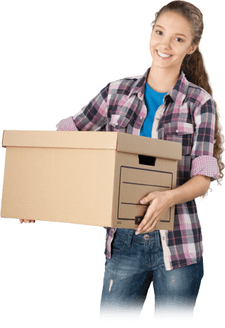 image of a smiling girl carrying a moving box