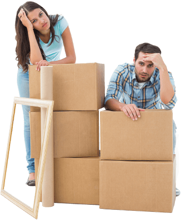 image of a couple tired of packing
